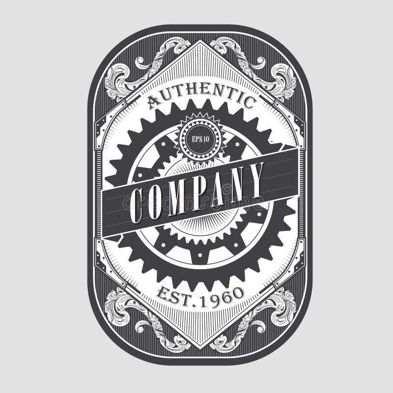 Antique steampunk label vintage frame retro border engraving royalty free illustration