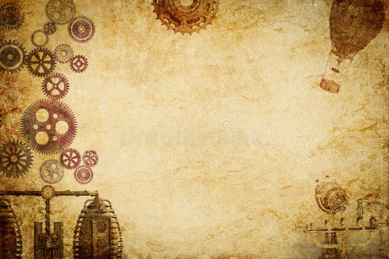Steampunk machine n gears paper background royalty free stock photos