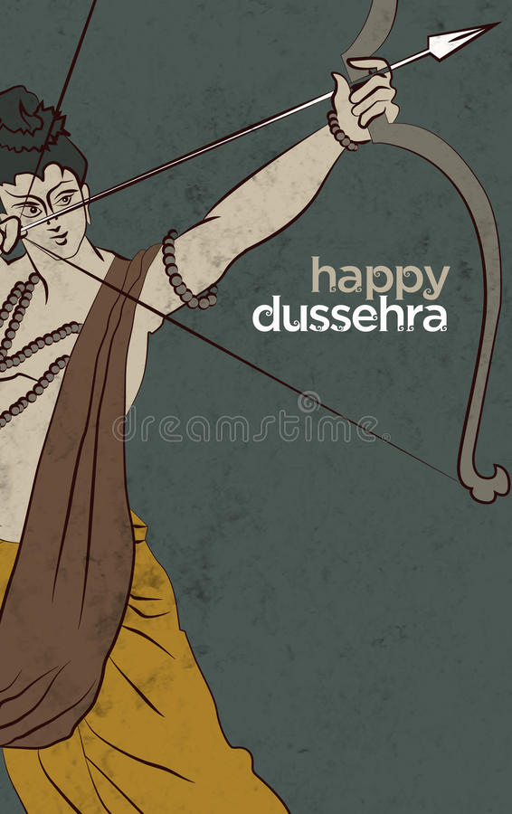 Antique Stock Illustration of `happy Dussehra` greeting card stock photography
