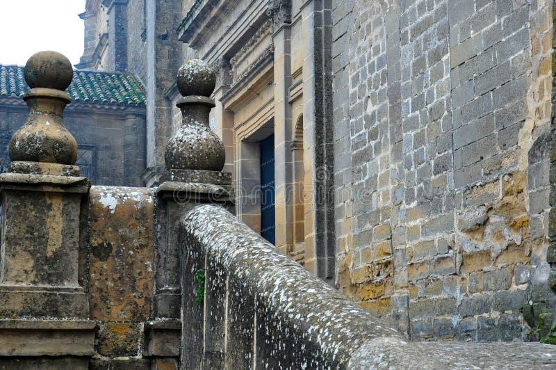 Antique stone balustrade with centenary stones stock image