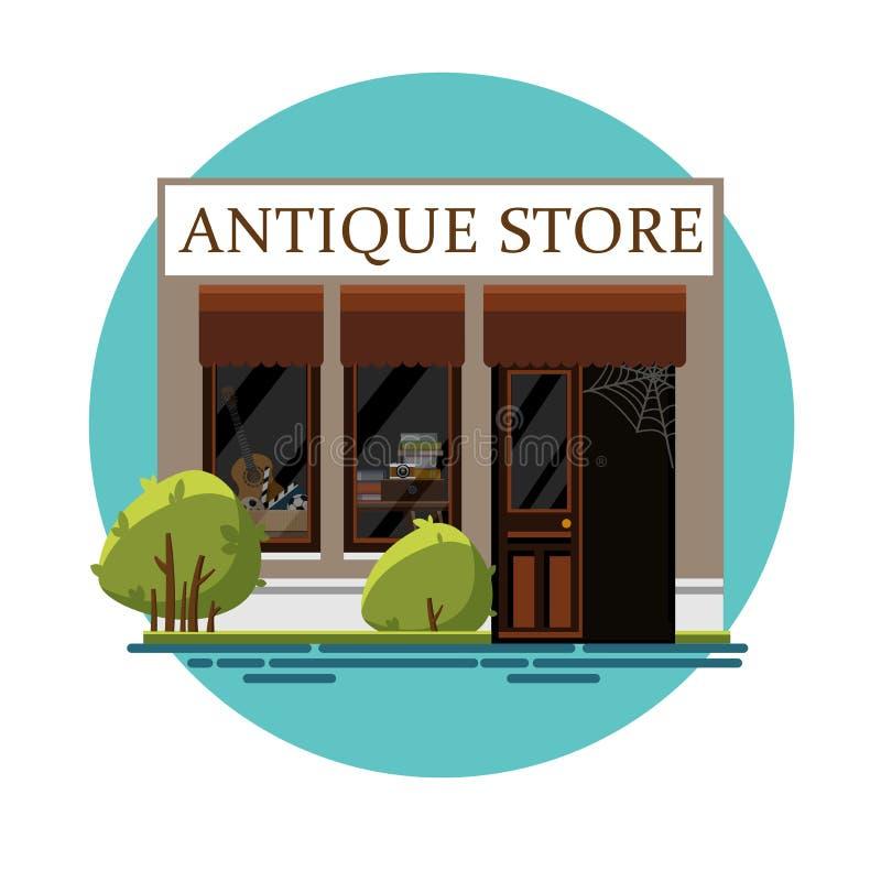 Antique store. Antique shop. Retro store. Store facade. Facade of an antique shop. Illustration of an antique shop in a flat style. Vector illustration Eps10