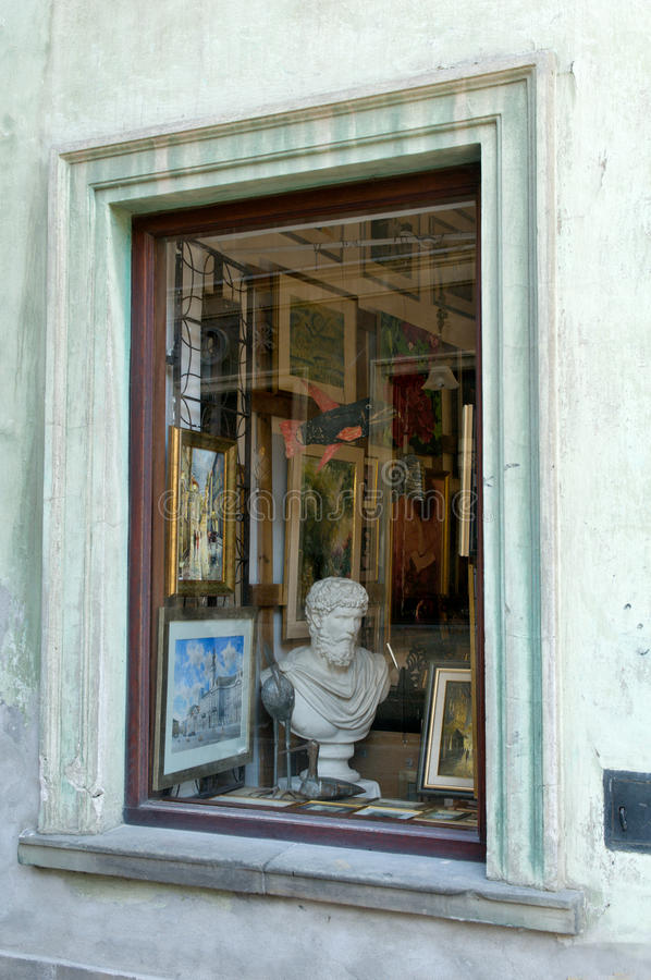 Antique store in Warsaw stock photography
