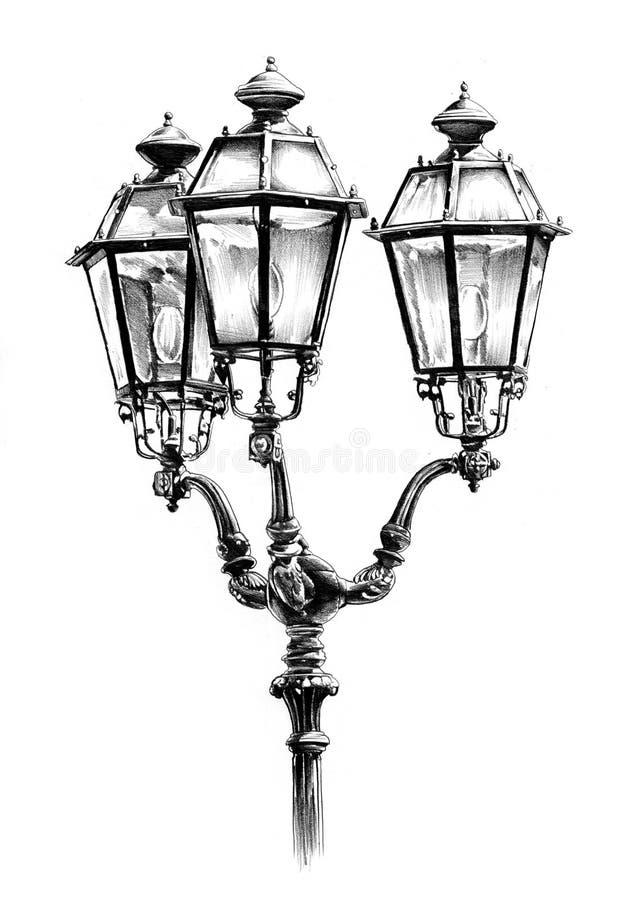 Download Antique Street Lantern Drawing Handmade Stock Illustration
