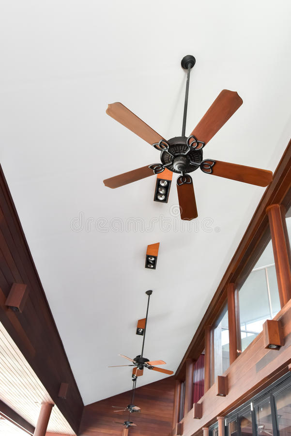 Antique style ceiling fan. In contemporary building royalty free stock photos