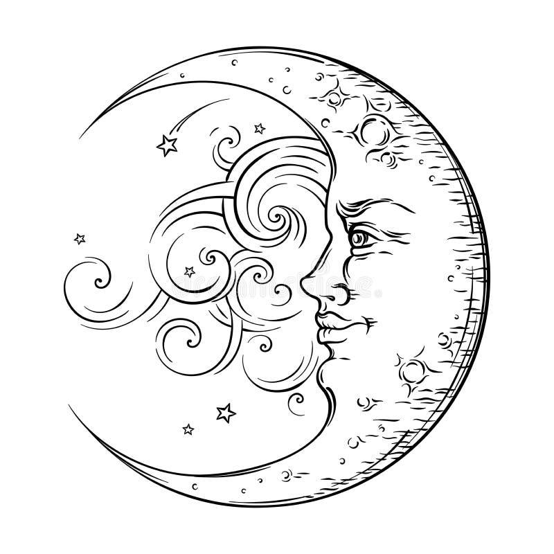 Antique style hand drawn art crescent moon. Boho chic tattoo design vector royalty free illustration