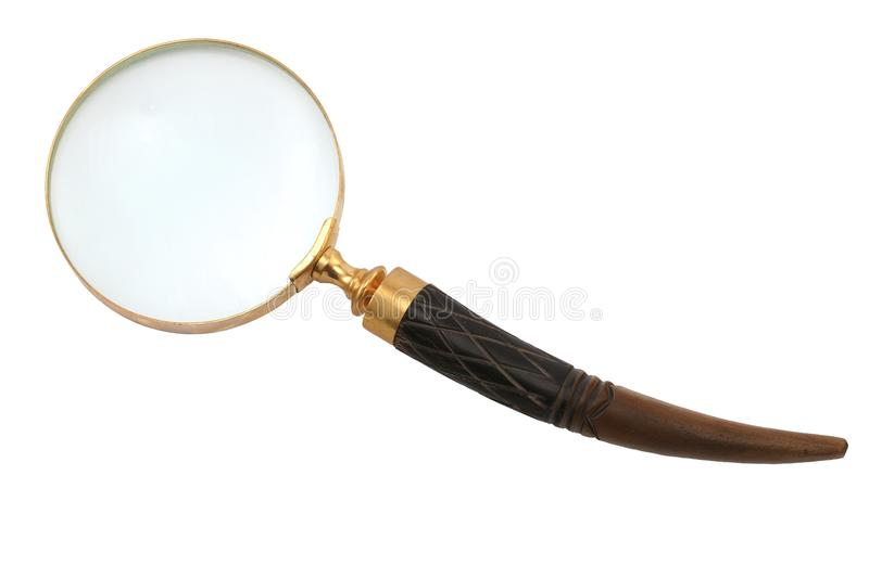 Antique-style magnifying glass. With a curved decorated handle isolated on white background stock image