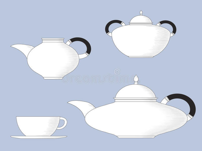 Download Antique style teaset stock vector. Image of classic, drawing - 25831612
