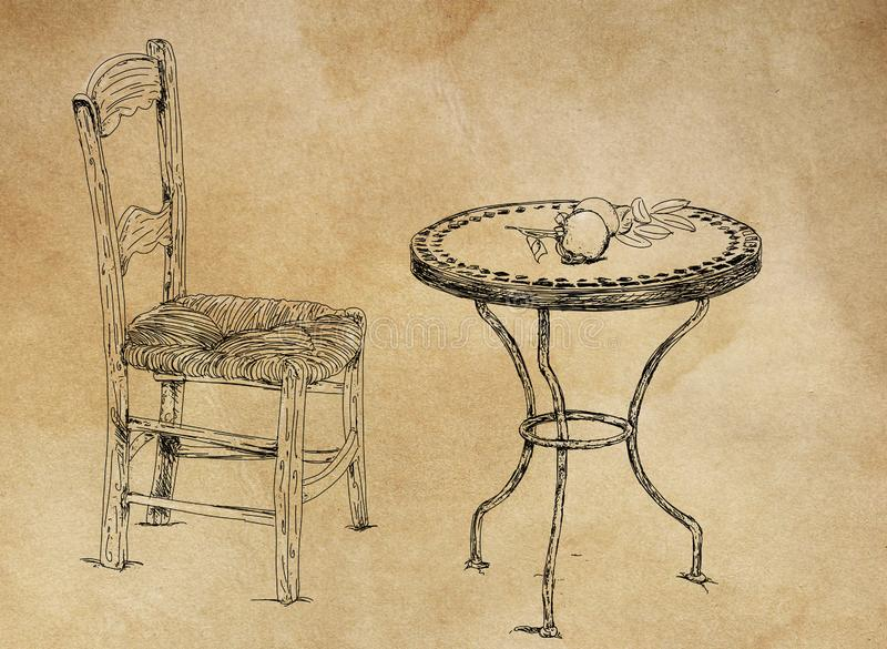 Antique table and chair stock illustration