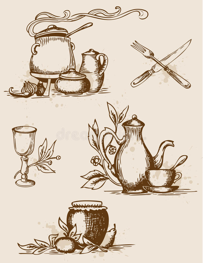 Antique tableware stock photography