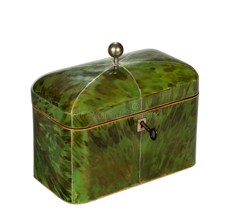 Antique tea caddy early nineteenth century. Lovely green vintage original tea caddy royalty free stock photography