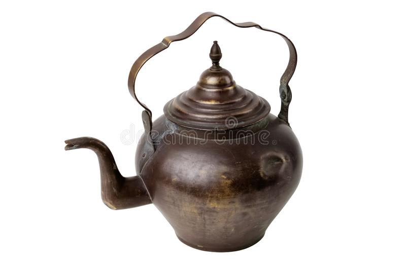 Antique tea kettle isolated on white. Antique tea kettle isolated on white background royalty free stock photo