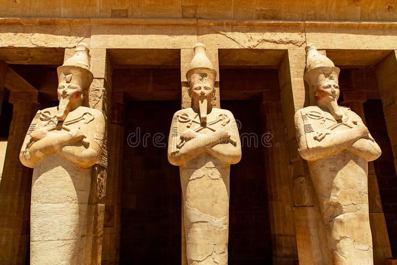 The antique temple of female pharao Hatchepsut near Luxor in Egypt stock photography