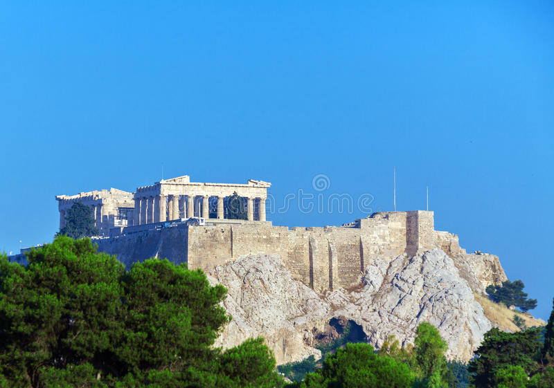 Antique Temple Parthenon in Acropolis, Athens stock images