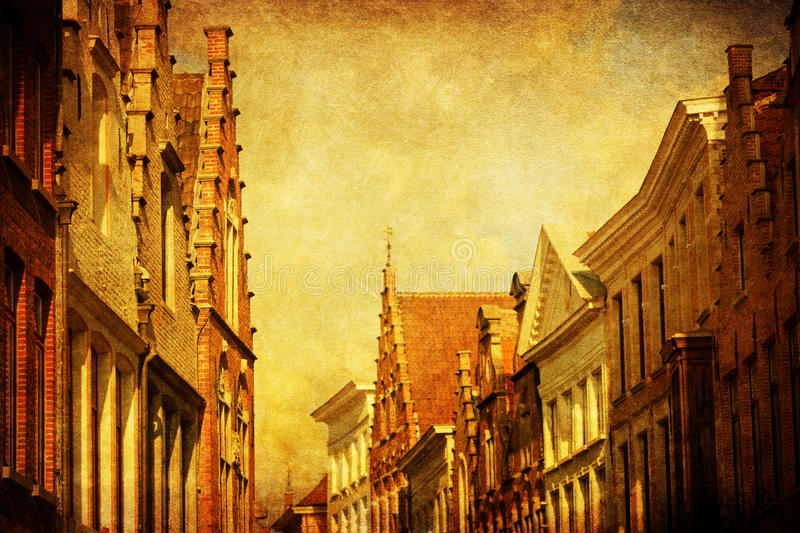 Download Antique Textured Picture Of Historical Buildings In Bruges, Belgium Stock Image - Image: 32428789