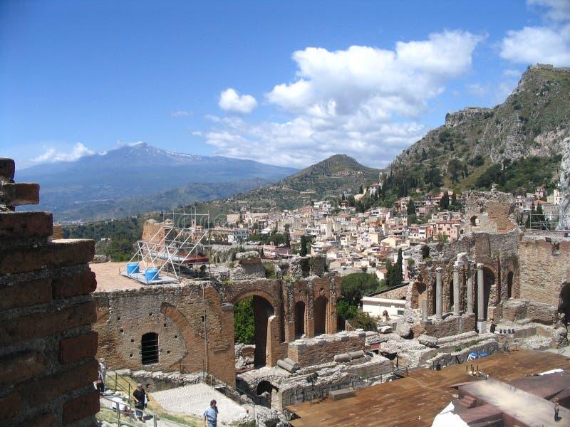 Antique theatre, taormina, etna royalty free stock photos