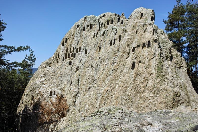 Antique Thracian Sanctuary Eagle Rocks near town of Ardino, Kardzhali Region. Bulgaria royalty free stock image