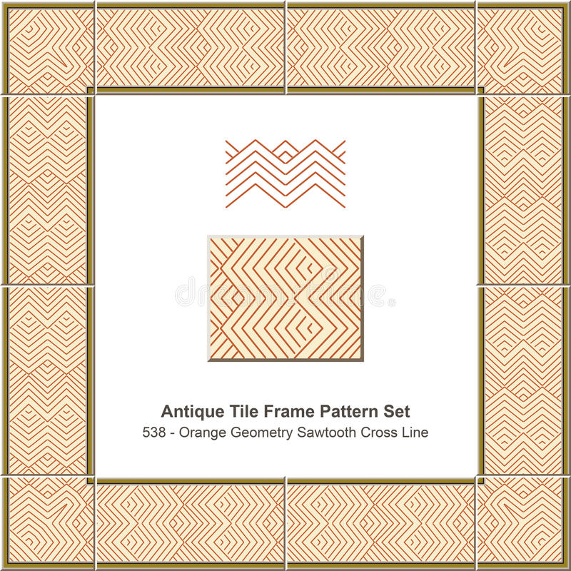 Antique tile frame pattern set Orange Geometry Sawtooth Cross Li. Ne can be used for both print and web page stock illustration