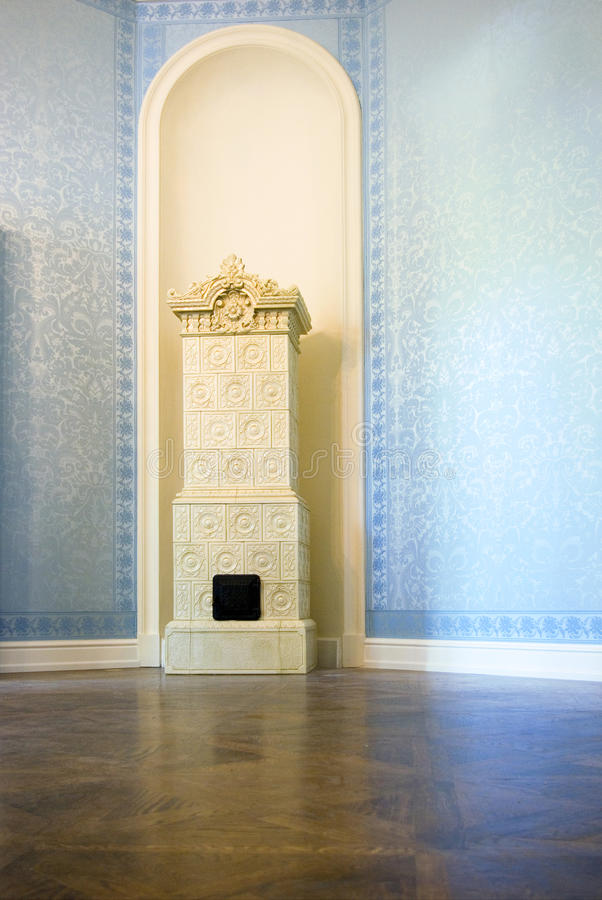 Antique tile stove royalty free stock photo