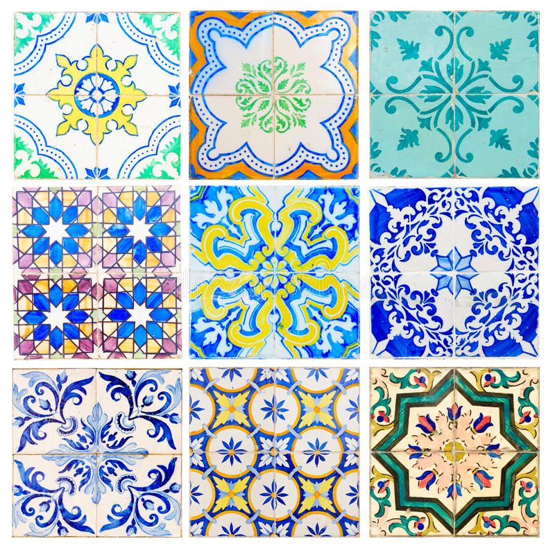 Antique tiles of Sintra. Set of antique tiles asulejos of Portugal royalty free stock images
