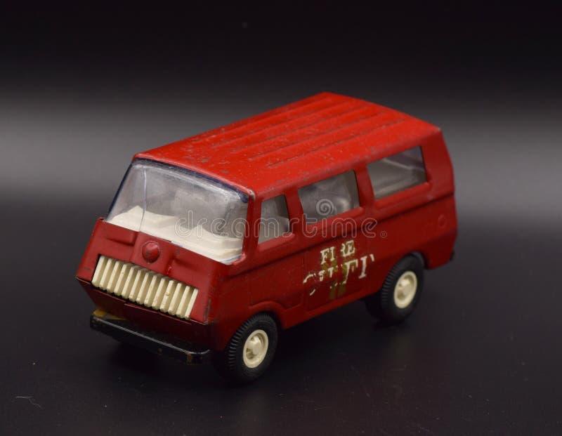Antique Toy Trucks on Black stock photography