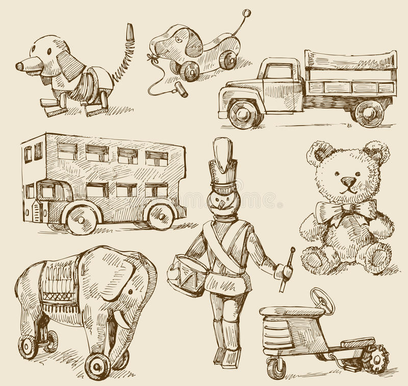 Free Antique Toys-original Hand Drawn Collection Royalty Free Stock Photos - 23368318