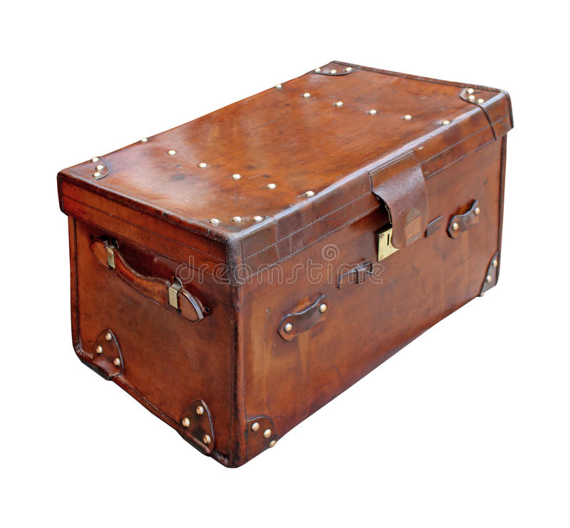 Antique trunk. Brown leather antique trunk isolated with clipping path included stock photography