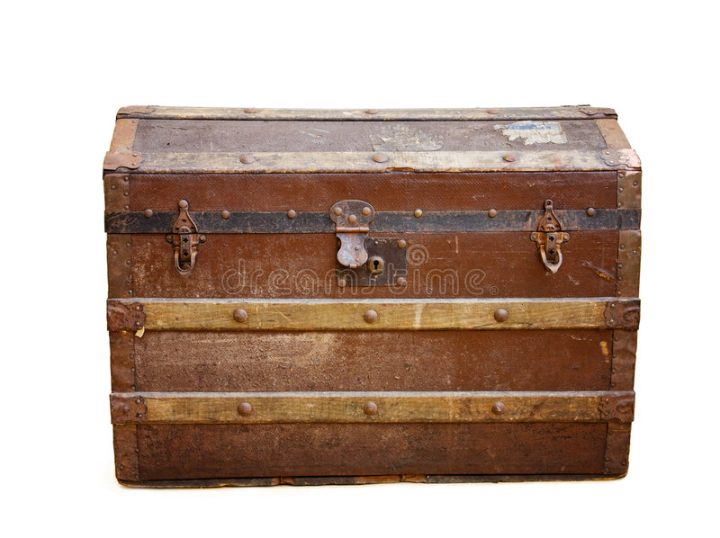 Antique trunk with rusty locks w c/path stock photography