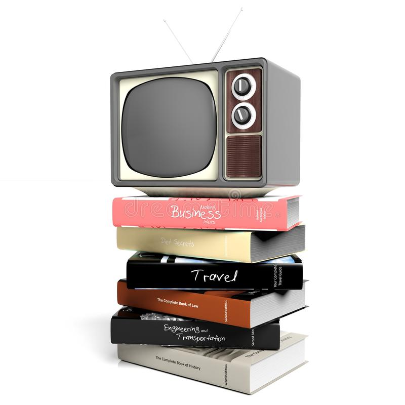 Antique TV set and books. On white background. 3D rendering stock illustration