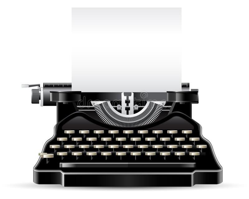Antique Typewriter. Front view antique typewriter with paper sheet stock illustration