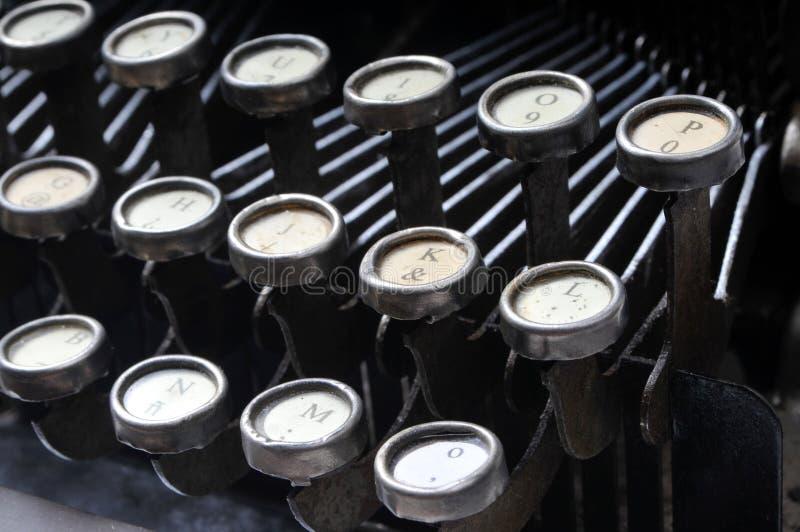 Antique typewriter. Close up of antique typewriter keys royalty free stock image