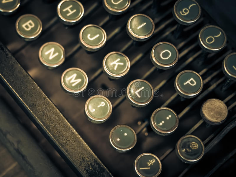 Antique Typewriter. A close-up view of an old typewriter in a coffee shop in Atlanta, Georgia stock images