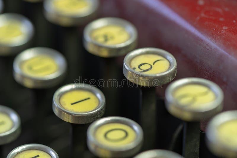 Antique Typewriter Number 9 Key stock photography