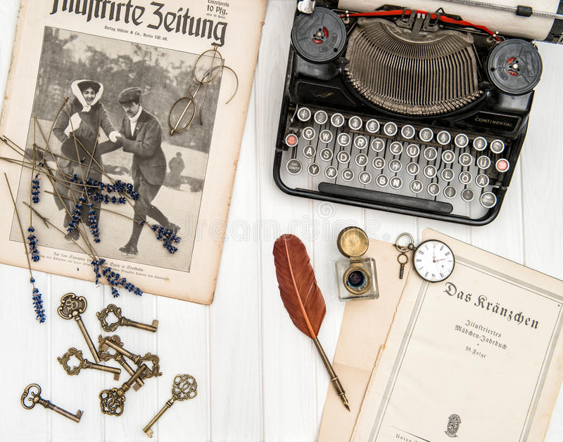 Download Antique Typewriter Vintage Office Accessories Flat Lay Still Lif  Editorial Stock Photo   Image: