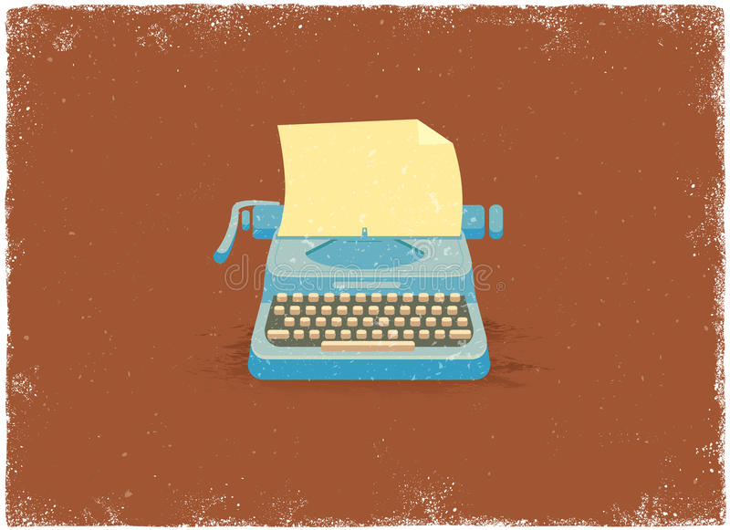 Antique typewriter. In vintage vector style stock illustration