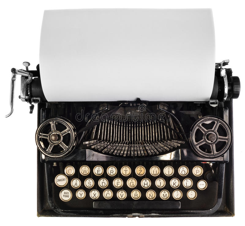 Antique typewriter with white blank sheet of paper. stock image