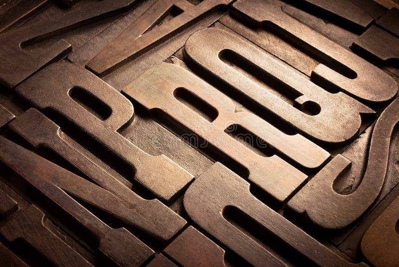 Antique Typographic Blocks Stock Photography