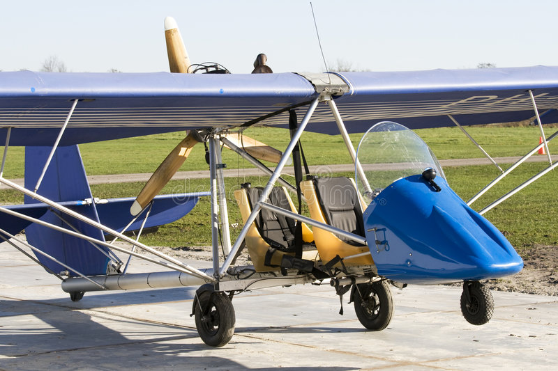 Antique ultra light plane. Old and open ultra light plane royalty free stock photography