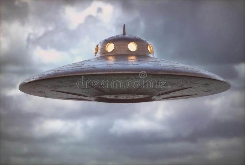 Antique Unidentified Flying Object UFO royalty free illustration