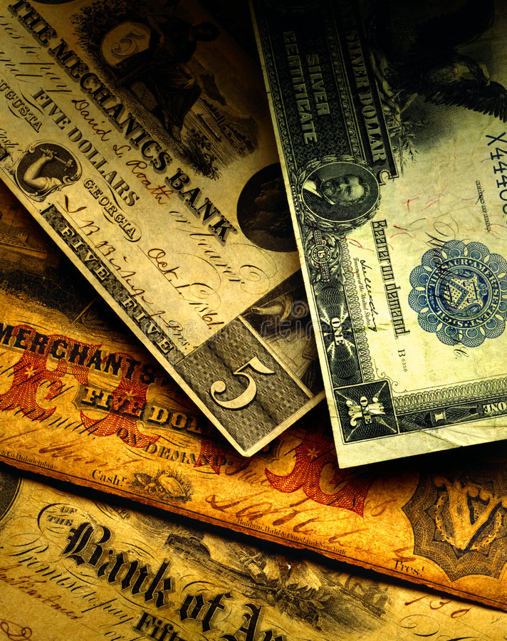 Antique US Currency stock images