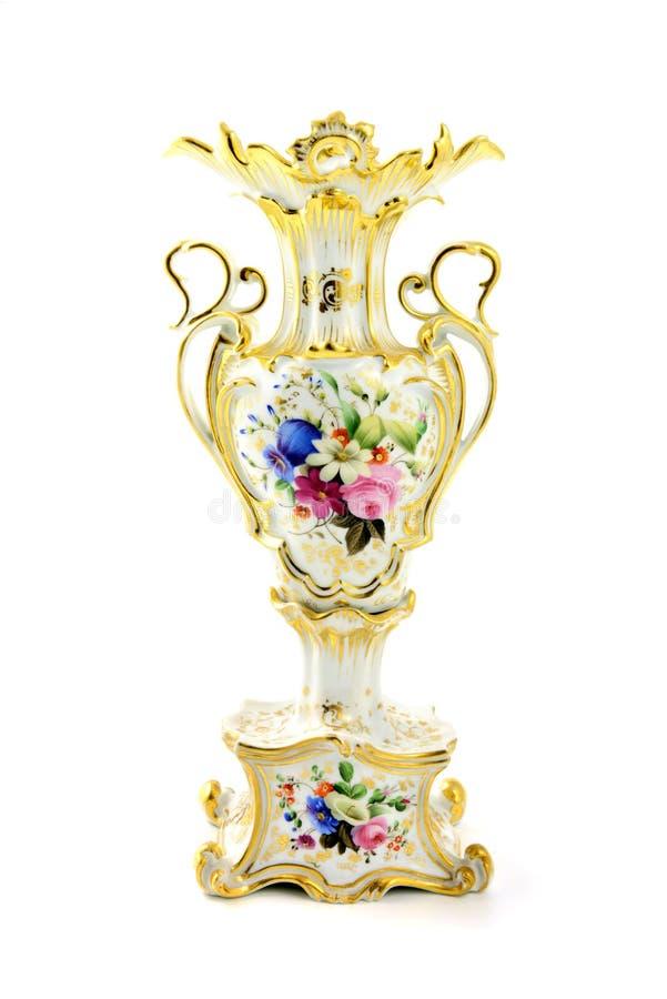 Antique vase of historicism time with floral paintings. Antique vase of historicism time area 1860 with floral paintings and gold ornaments stock image