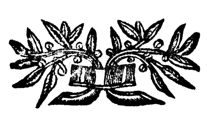 Vintage Vector Drawing or Engraving of Small Grunge Antique Floral Decoration Design vector illustration