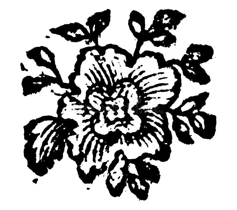 Vintage Vector Drawing or Engraving of Grunge Antique Floral Decoration Design of Flower stock illustration