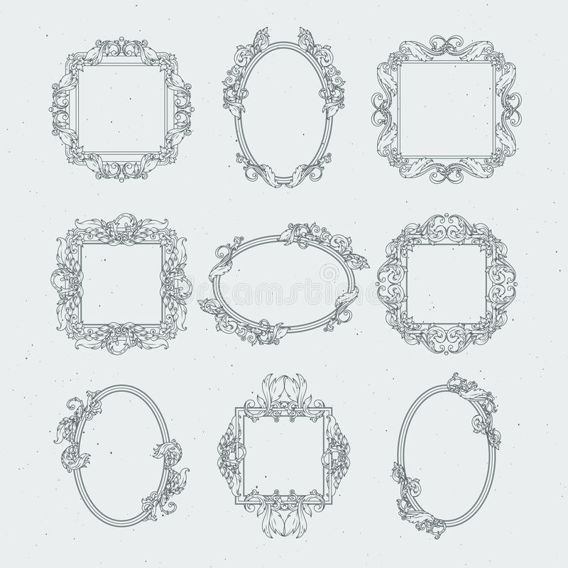 Antique Victorian Picture Frames. Vector Set In Baroque Style Stock ...