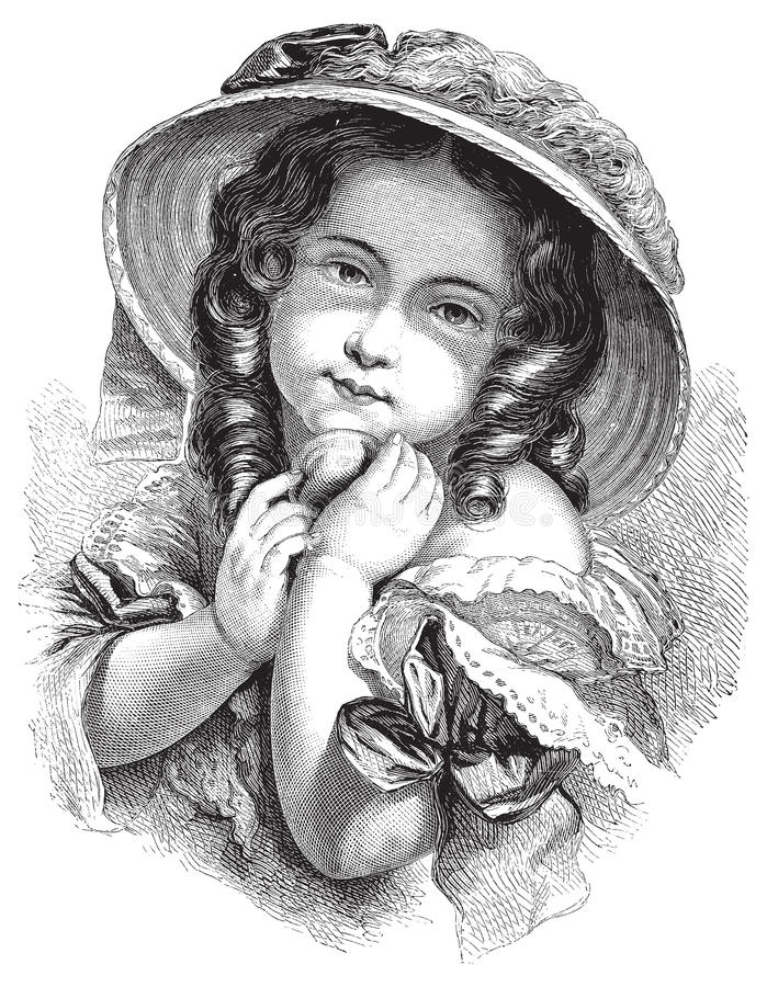Antique Victorian vector illustration of gypsy girl with hat vector illustration