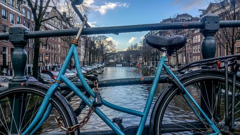 Vintage Bike in Amsterdam royalty free stock photos