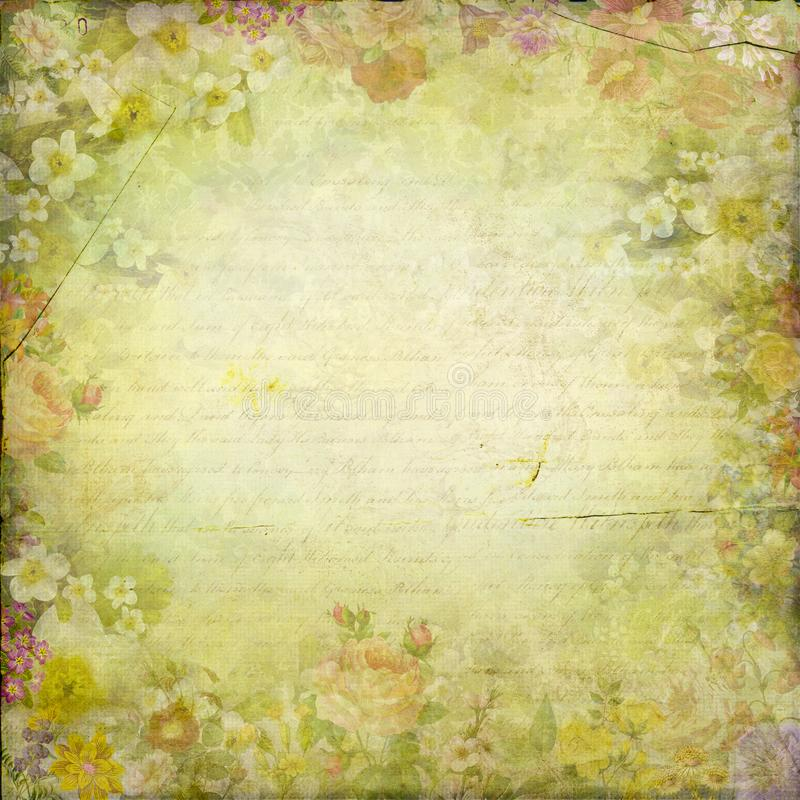 Antique vintage chic flowers frame paper texture background. Template for decoration and design stock illustration