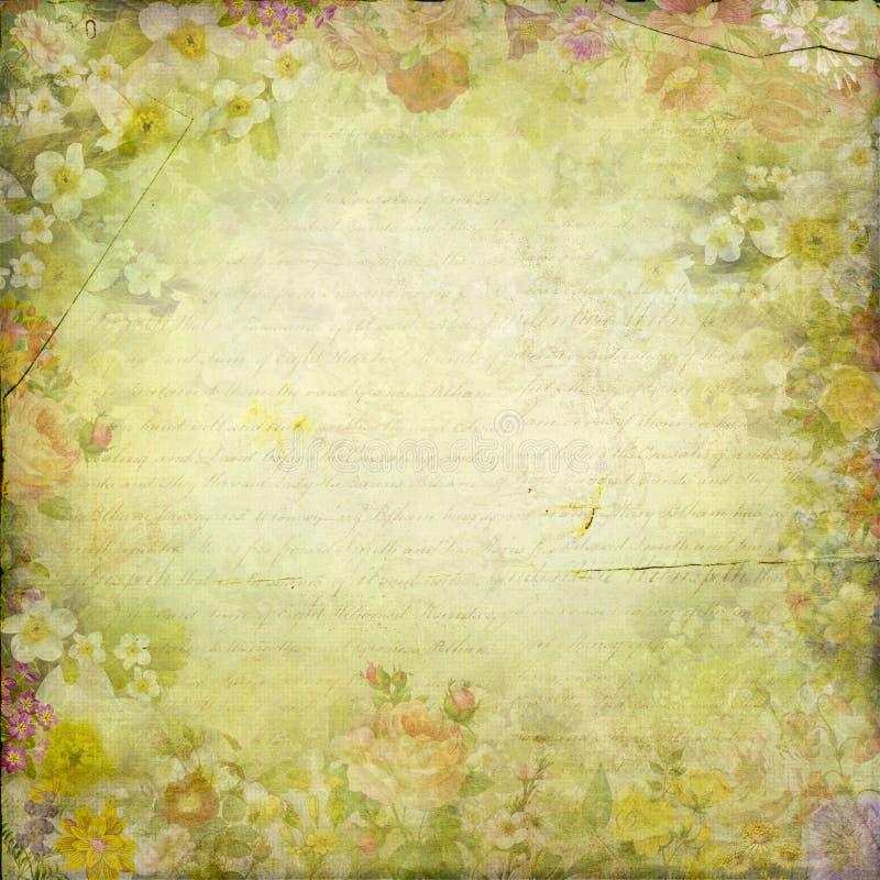 Antique vintage chic flowers frame paper texture background stock illustration