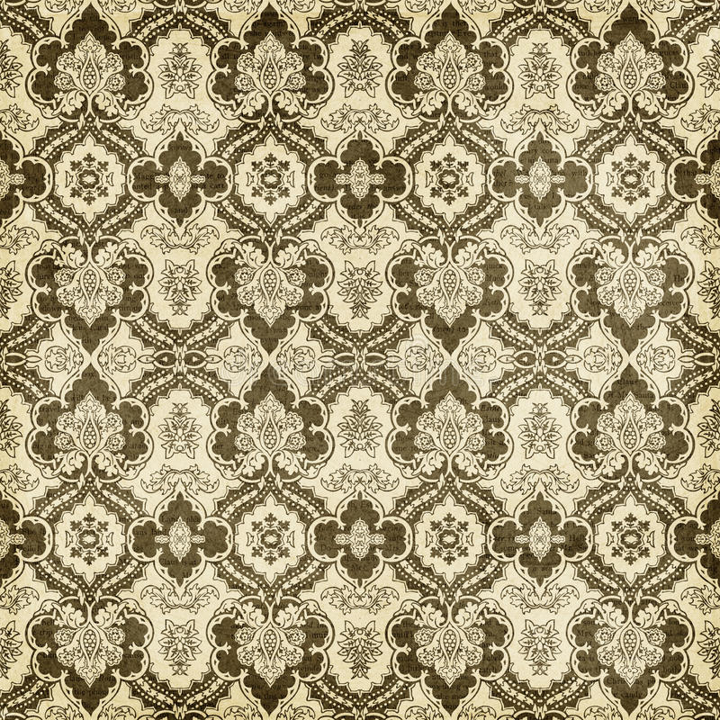 Antique Vintage Damask Style Pattern Christmas Wallpaper Background. Brown and Cream Antique Vintage Damask Style Pattern Christmas Wallpaper Background royalty free stock photos