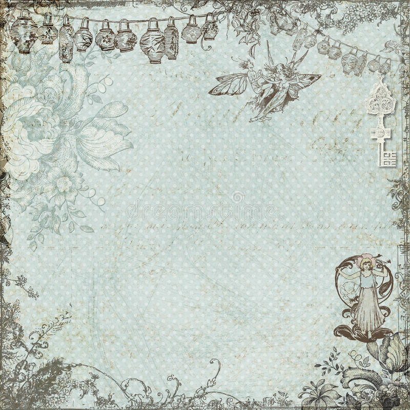 Antique vintage fairy and flowers background vector illustration