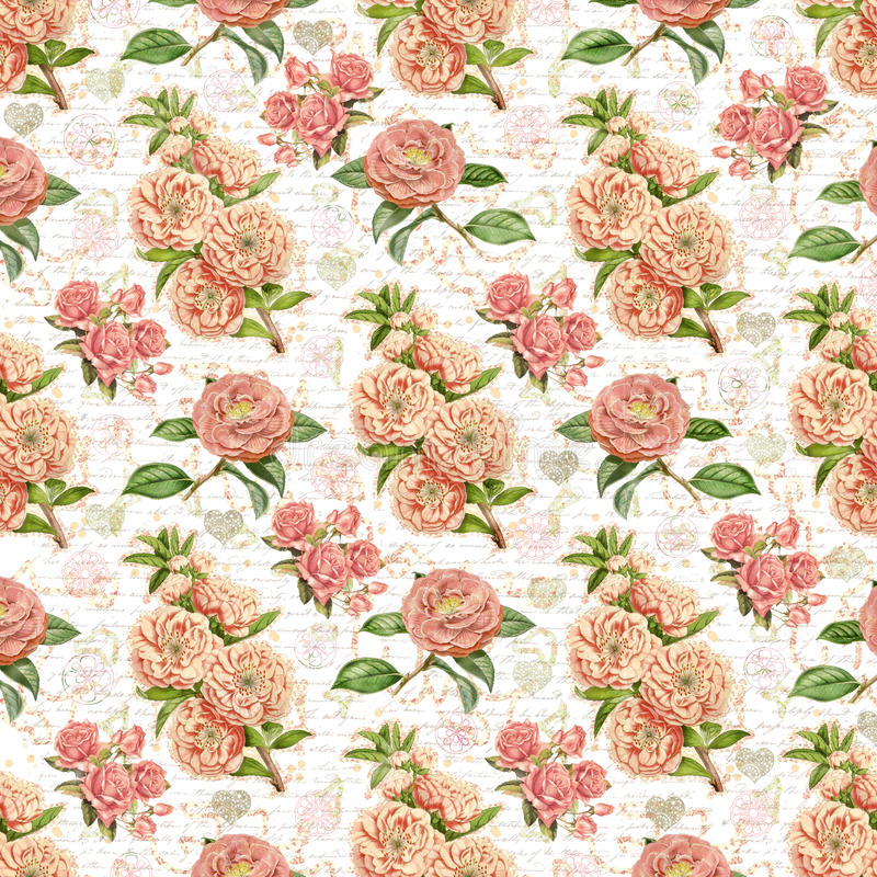 Antique vintage floral wallpaper background stock photos